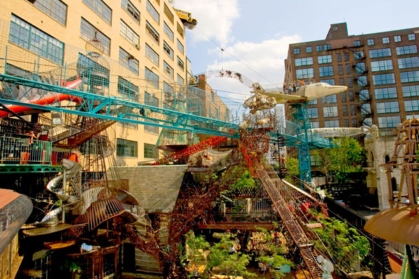 The City Museum encourages you to touch the art—and climb over it, and crawl through it, and jump on it.