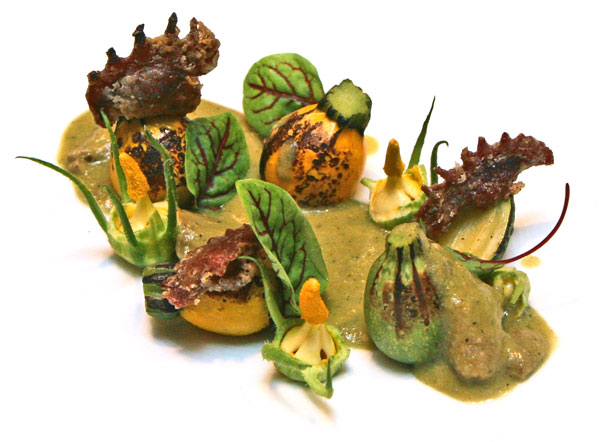 Cock's combs with summer squash and green peanut mole
