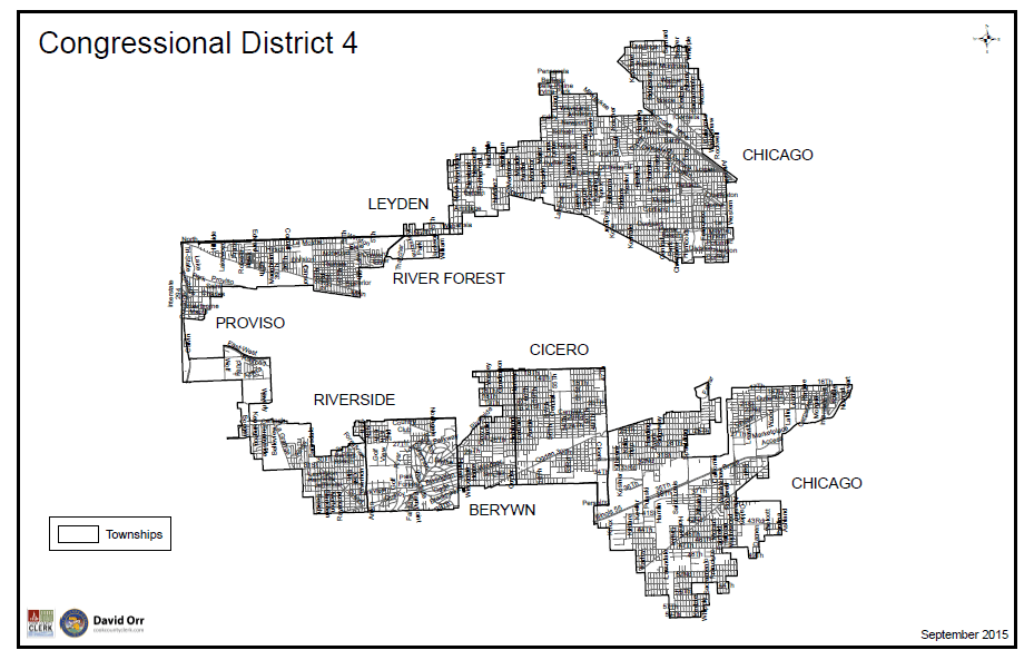 """Map of Illinois's Fourth congressional district, nicknamed """"Earmuffs"""" for its irregular shape, the product of gerrymandering."""