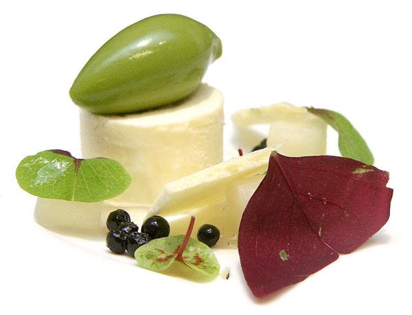 Cupuacu semifreddo with sorrel sorbet, Asian pear, huckleberries, elderflower syrup, and fresh sorrel