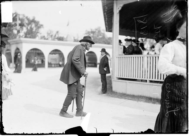 Image of Lewis Ishrell, of 2720 Wentworth, walking with canes at the Old  Settlers Picnic at Riverview Park, August 7, 1905