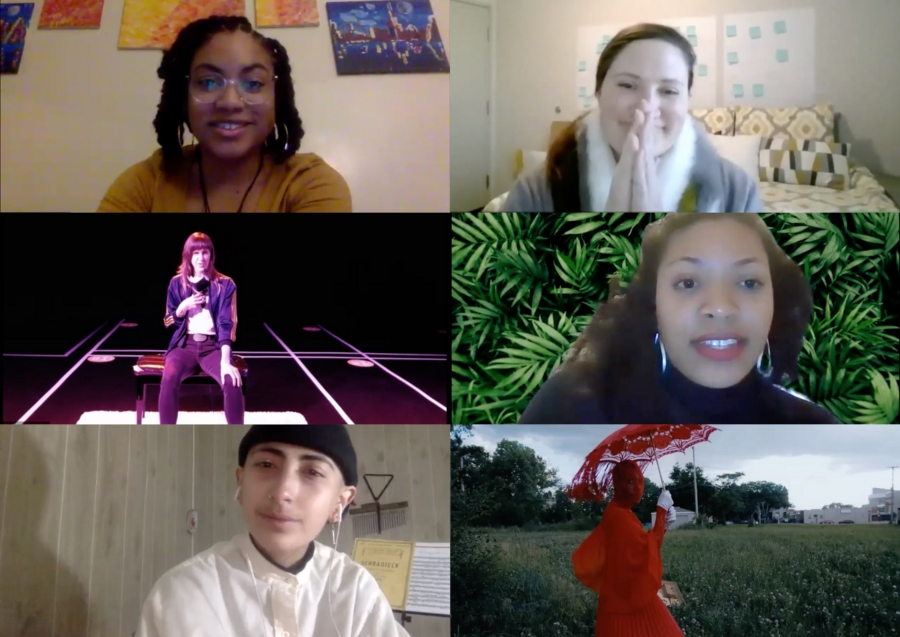 """Participants in the """"Dance in Chicago 2021"""" Zoom townhall on January 7, 2021 (clockwise from top left): Aaliyah Christina, Christy Bolingbroke, Kellee Edusei, Jenn Freeman aka Po'Chop (still from Litany),JL Simonson, and Jyl Fehrenkamp"""