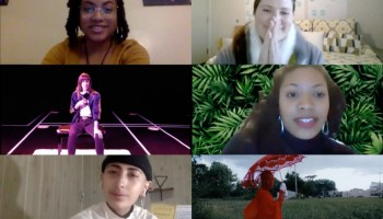 """Participants in the """"Dance in Chicago 2021"""" Zoom townhall on January 7, 2021 (clockwise from top left): Aaliyah Christina, Christy Bolingbroke, Kellee Edusei, Jenn Freeman aka Po'Chop (still from <i>Litany</i>),JL Simonson, and Jyl Fehrenkamp"""
