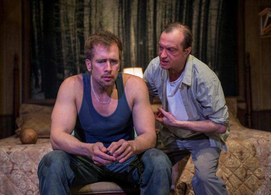 Cox (left) and Larry Neumann Jr. in <em>In God's Hat</em>