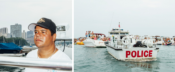 Deliveryman Dave Lobo keeps watch; a Chicago Police Department marine unit boat looms