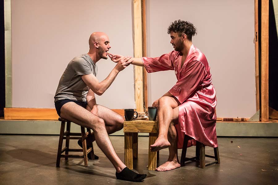 Scene from Pride Films and Plays' 2019 production <i>Desire in a Tinier House</i>, featuring intimacy direction by Gaby Labotka