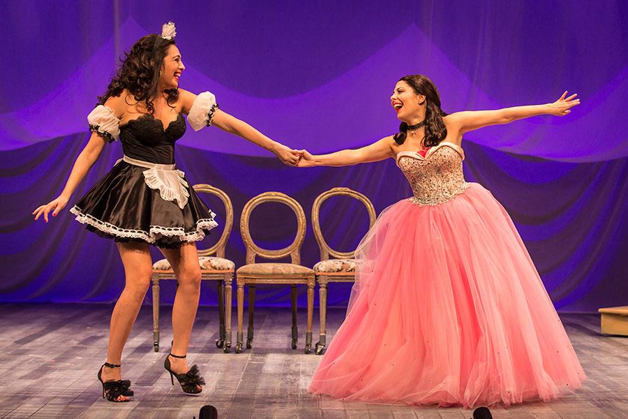 Pilar Esperanza Castillo and Victoria Maria del Rio in Goodman Theatre's <i>Destiny of Desire</i>