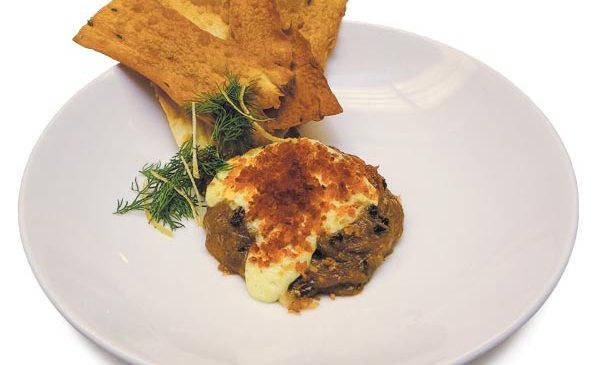 Fried smelt with harissa aioli, crudites, and gold leaf