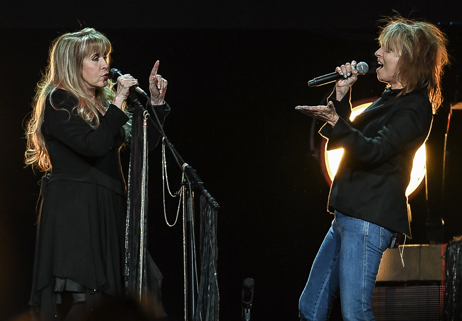 """Chrissie Hynde of the Pretenders (the night's opening act) took Tom Petty's vocal in """"Stop Draggin' My Heart Around."""""""
