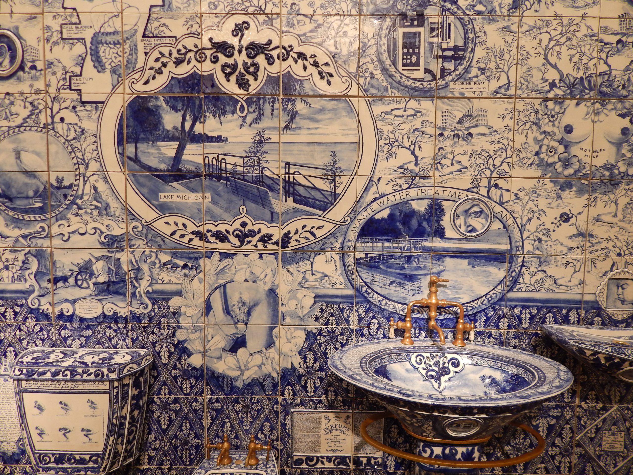 Detail of Ann Agee's <i>Lake Michigan Bathroom</i> (1992), at P.P.O.W.