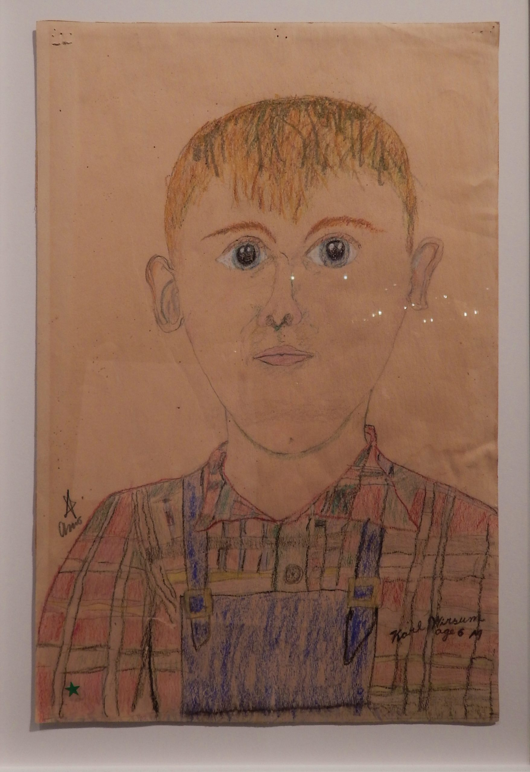 A Karl Wirsum self-portrait done at age six  (1945), at ProjectArt