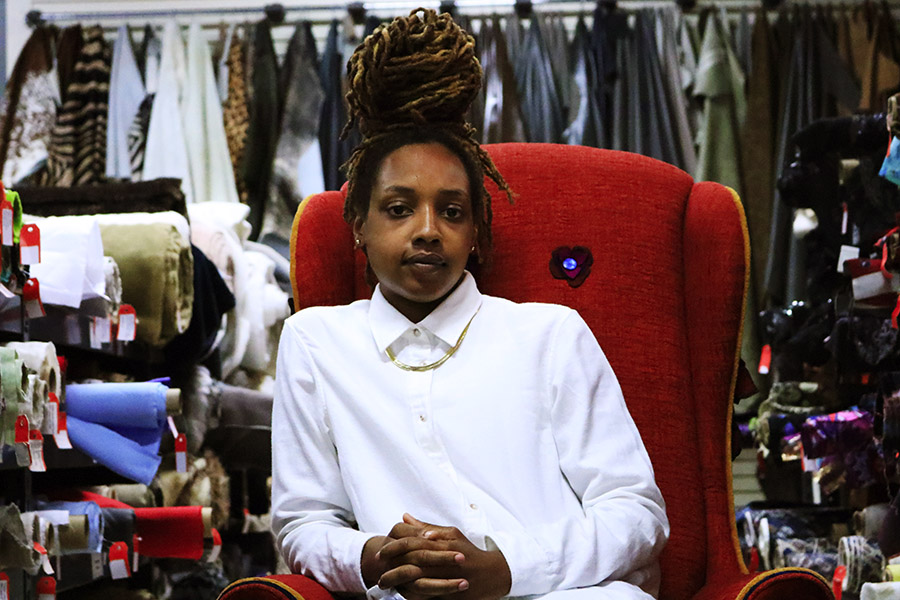 Sheila Rashid used to come to Fishman's Fabrics just to window-shop and dream, but now she can afford to buy.