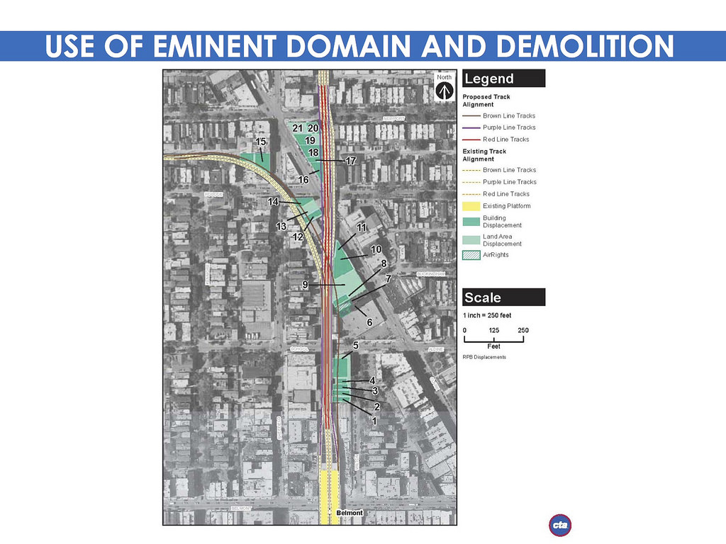 Properties slated for acquisition and/or demolition for the flyover project
