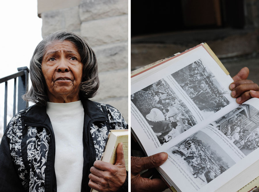 """Ethel Weatherspoon—seen here with a copy of Beryl Satter's 2009 book <i>Family Properties</i>—acquired her North Lawndale home in a contract-for-deed sale in 1957. Knowing she and her husband could lose their house """"ate away at us,"""" she says."""