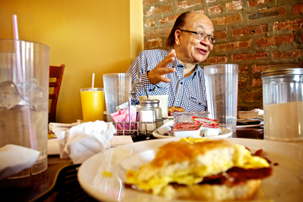 Cliff Kelley, whose afternoon show is a mandatory stop for local officials who need to reach the black community, has been eating breakfast at Ms Biscuit for five years.