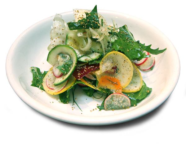 A salad of raw summer vegetables sprinkled with fennel pollen