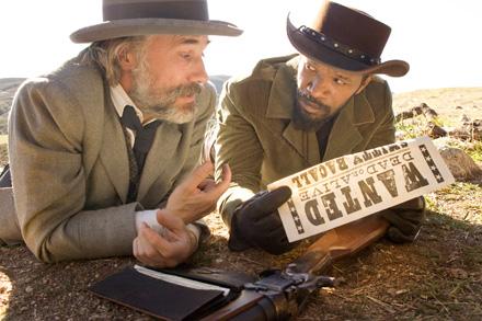 Christoph Waltz and Jamie Foxx hunt racist whites in Quentin Tarantino's Django Unchained.