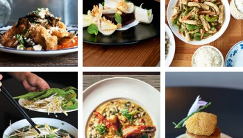 Top: Dove's Luncheonette's chile rellenos, Parachute's boudin noir, Spicy Lao Thai's <i>pad cha</i>; bottom: New Asia's <i> pho ga</i>, Joe Fish's risotto, 42 Grams' uni on brioche