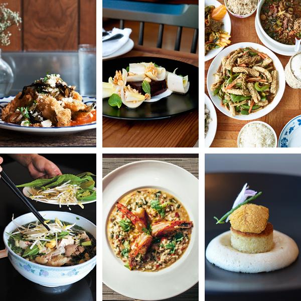 Top: Dove's Luncheonette's chile rellenos, Parachute's boudin noir, Spicy Lao Thai's pad cha; bottom: New Asia's  pho ga, Joe Fish's risotto, 42 Grams' uni on brioche