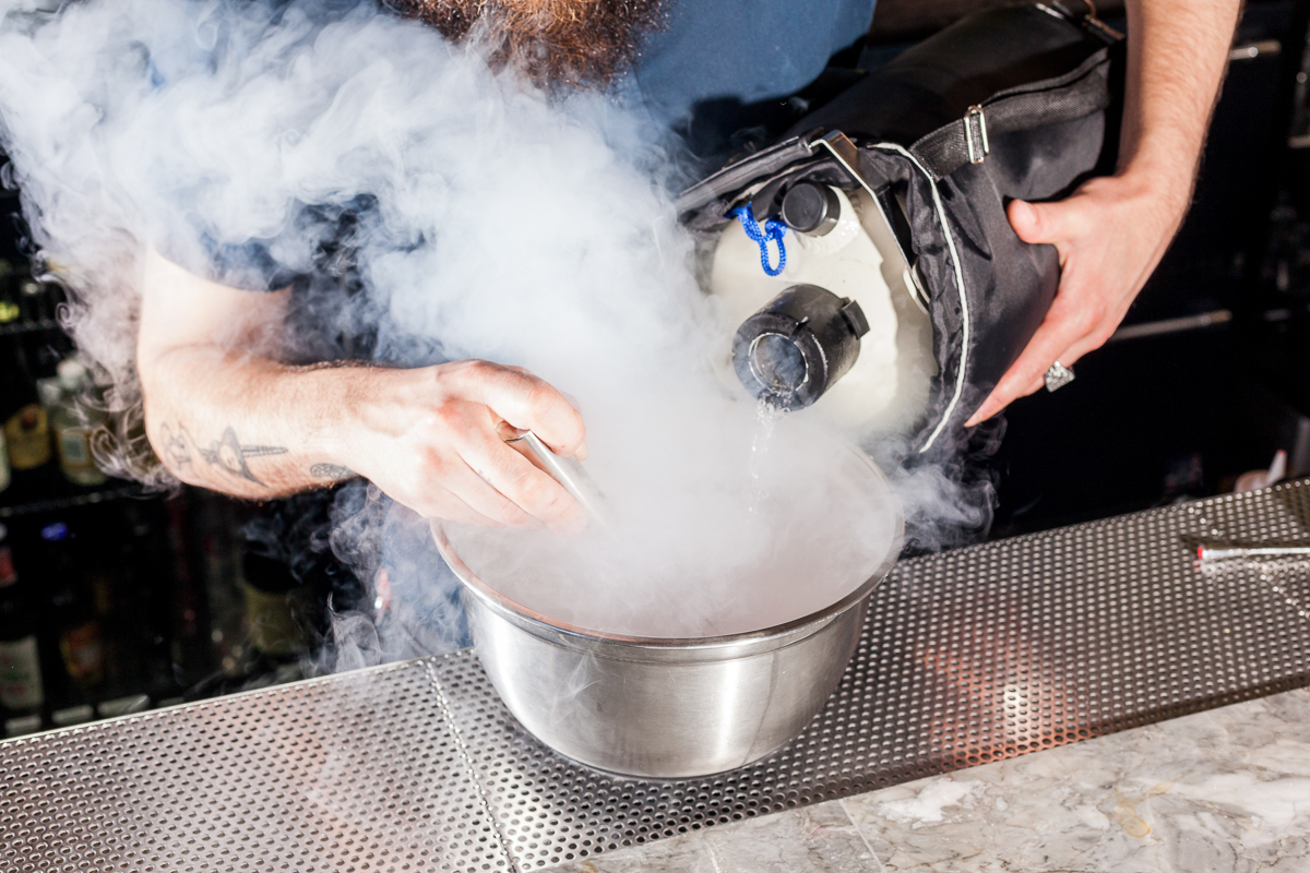 """In the """"Fraise d'Amor"""" cocktail, liquid nitrogen freezes a mixture of cognac and strawberry puree."""