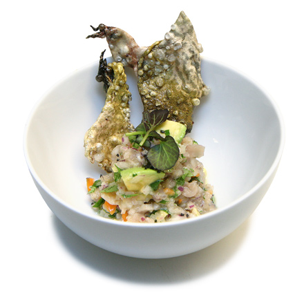 """Frog ceviche with frog-skin """"chips"""""""