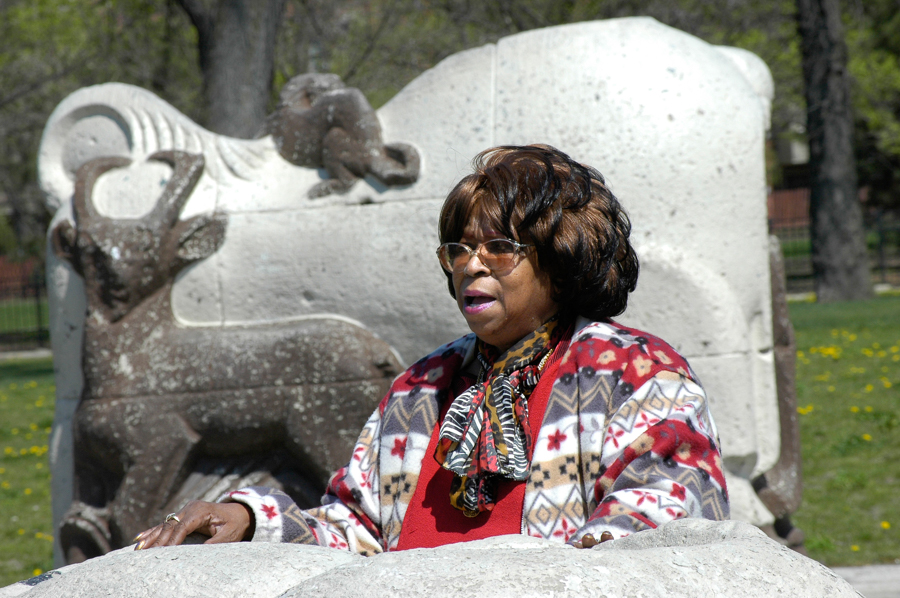 Longtime ABLA leader Deverra Beverly originated the idea of the museum to preserve public housing residents' histories. The animal statues by Edgar Miller are being restored and will be returned to the building's courtyard.