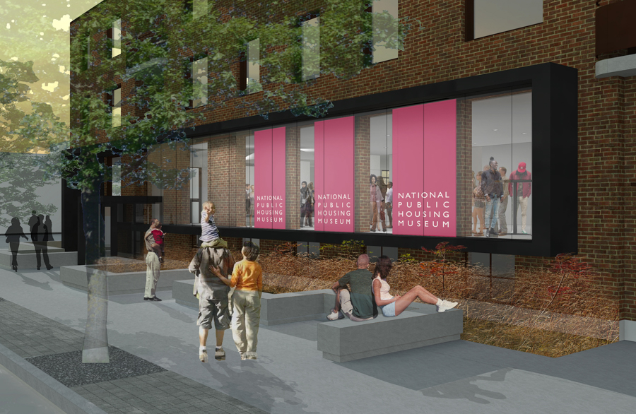 The Taylor Street side of the National Public Housing Museum building will be fitted with a large window intended to be a visual reference to the way demolitions of public housing buildings reveal intimate, interior views of people's apartments.