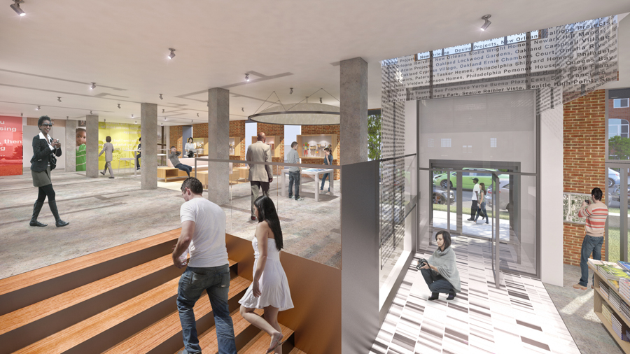 The museum plan includes exhibition space, apartment recreations, and an entrepreneurial hub for public housing residents.