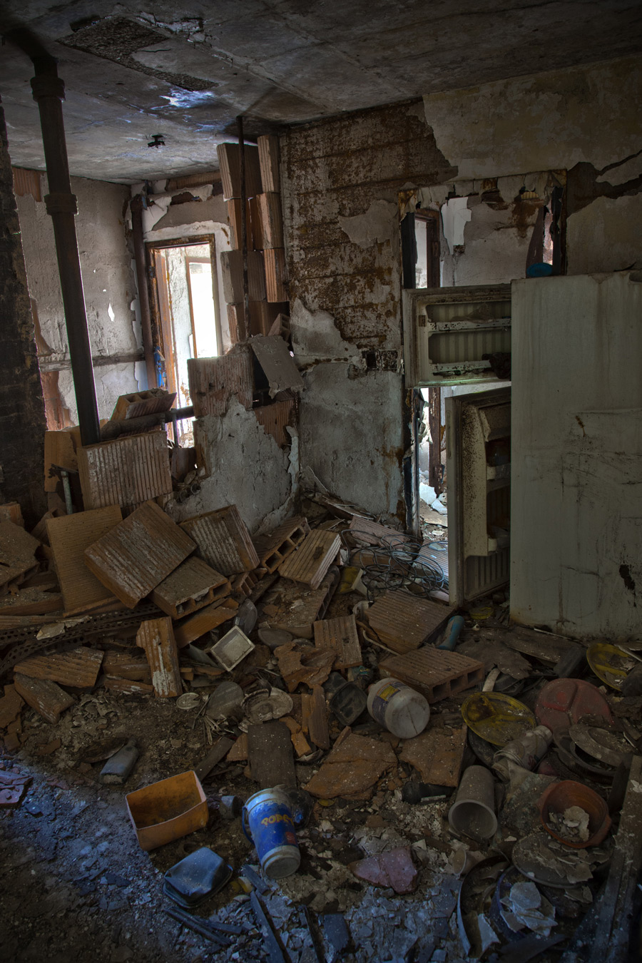 The interior of the National Public Housing Museum's future home has decayed significantly since 2002, when the last residents moved out.