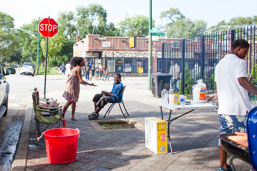 Tamar Manasseh, left, has kept daily vigil at 75th and Stewart for more than a year.