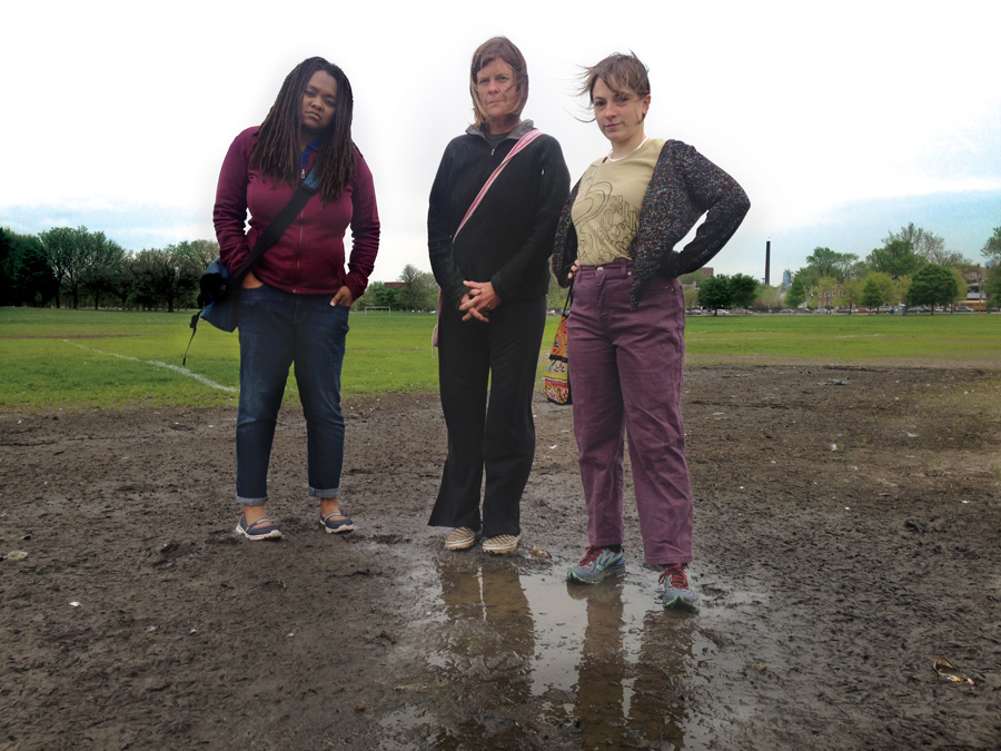Concerned Citizens of Riot Fest in Douglas Park organizers Sharaya Tindal, Nance Klehm, and Sara Heymann say the park remains in disrepair eight months after the festival.