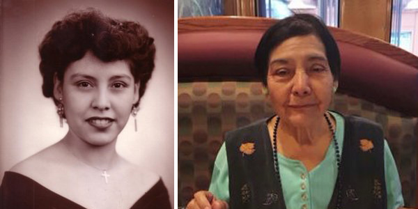 Eighty-four-year-old Telesfora Escamilla, pictured right in a recent photo and left as a young woman, was killed by a van driver who struck her in the crosswalk.