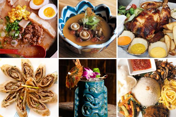 Top: Ramen Misoya, Sumi Robata Bar, Tanta; bottom: Homestyle Taste, Three Dots and a Dash, Rickshaw Republic