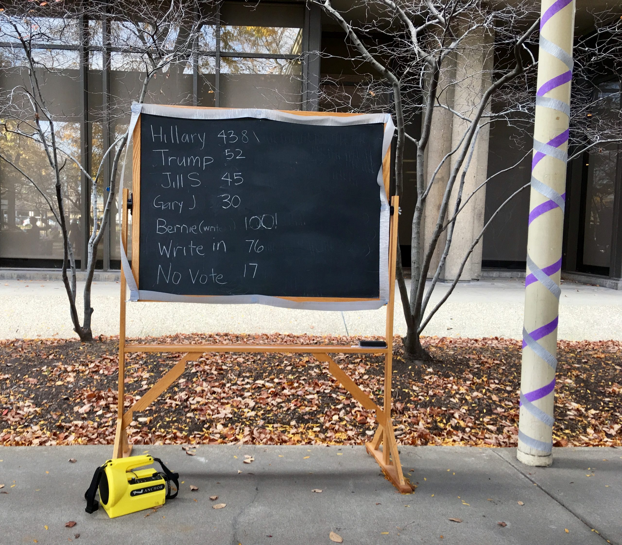 The chalkboard tally of symbolic votes was updated throughout the afternoon.