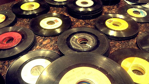 Stacks of 45s destined for the bins at Funk Trunk