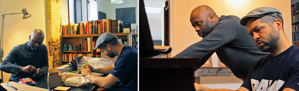 Left: Theaster Gates and Jason Moran try out minstrel-era noisemakers for the premiere of <i>Looks of a Lot</i>. Right: Gates and Moran sight-read early-20th-century sheet music from Gates's Dorchester Projects archives.