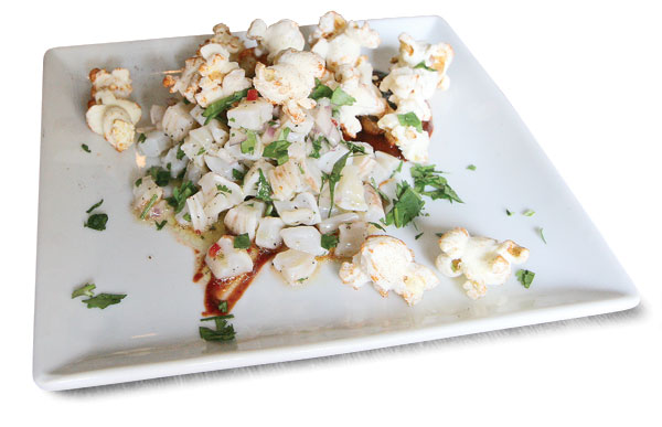 Geoduck ceviche with spiced popcorn