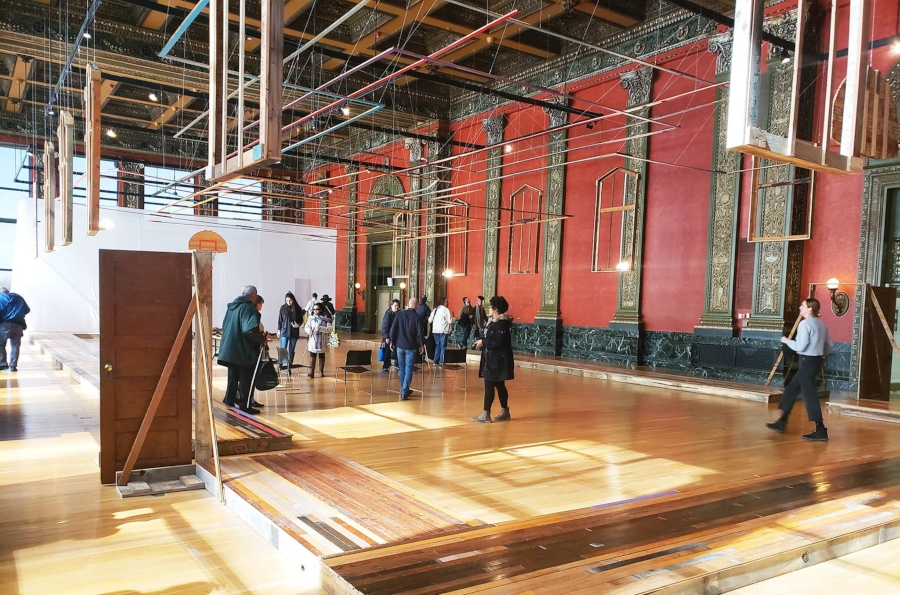 The church gym that served as Goat Island's rehearsal space has been recreated at the Chicago Cultural Center.