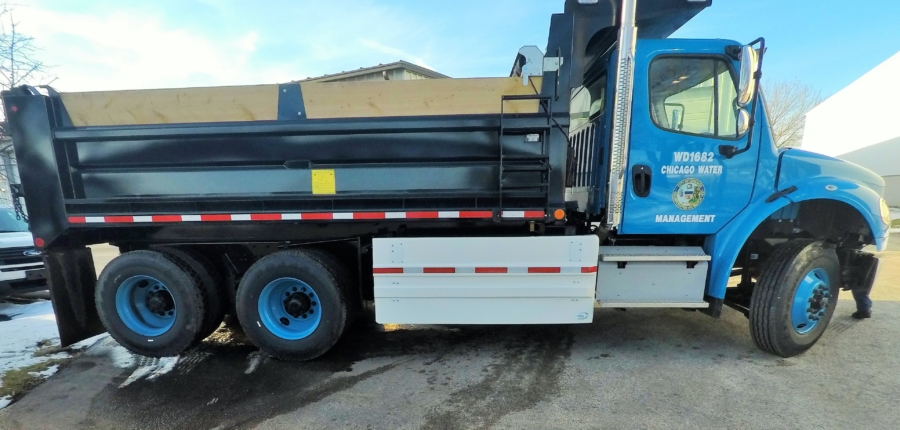 A Chicago Department of Water Management truck outfitted with side guards