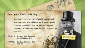 An invitation to Groupon Academy