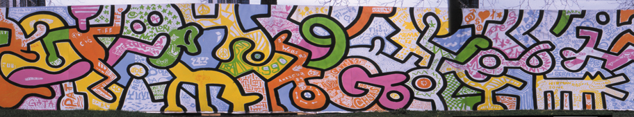 A small portion of the Haring mural.