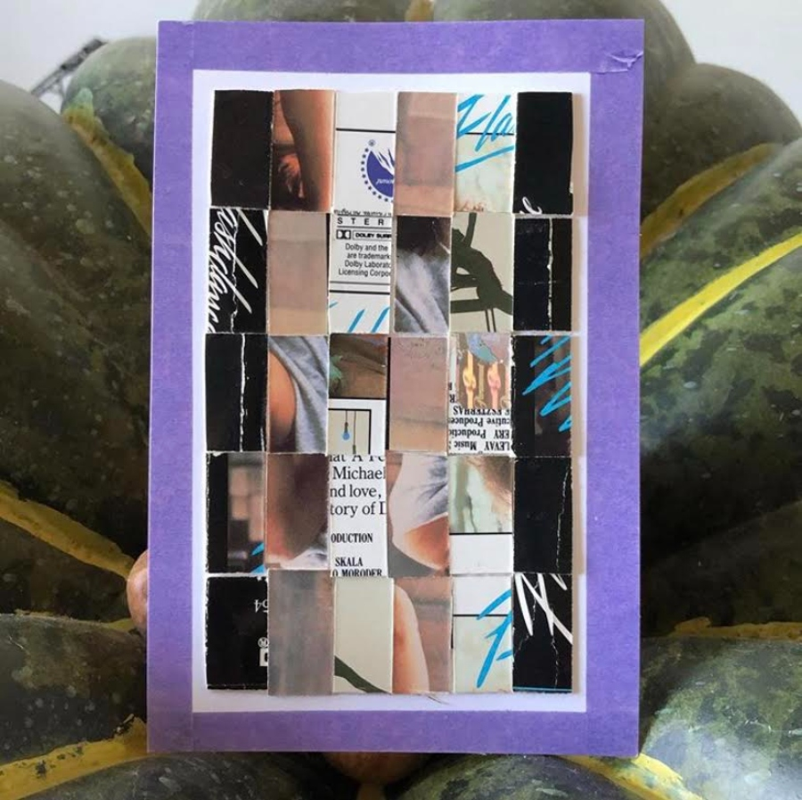 <i>Hello USPS</i>: Rebecca Griffith, Flash Dance Cover, VHS Cover and Tracing Paper on Purple Window Postcard