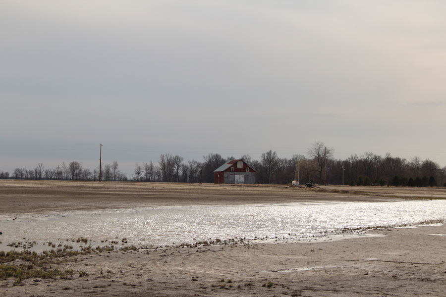 Flooded farmland above the Deer Run Mine in Hillsboro. Longwall mining causes the ground to drop many inches or even feet, often with devastating consequences for the homes and farmland on top of the mine.