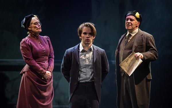 Hollis Resnick, Patrick Rooney, and Kevin Gudahl in Marriott Theatre's <i>Spring Awakening</i>