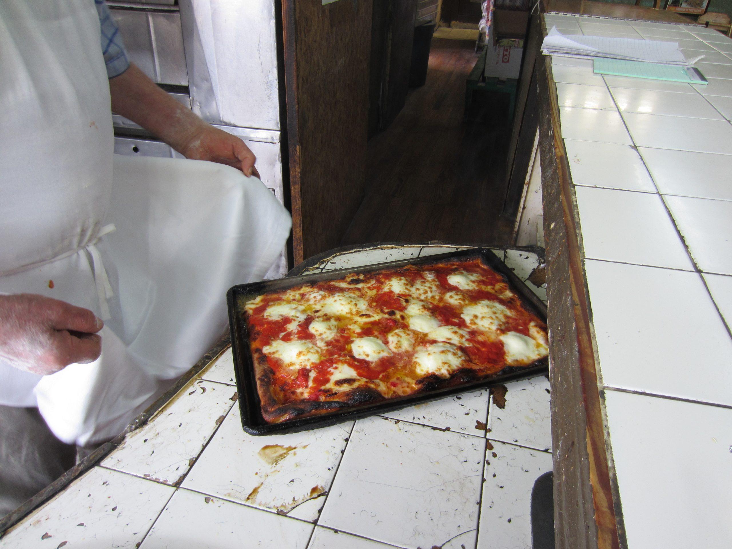 A thicker sheet pizza at Di Fara