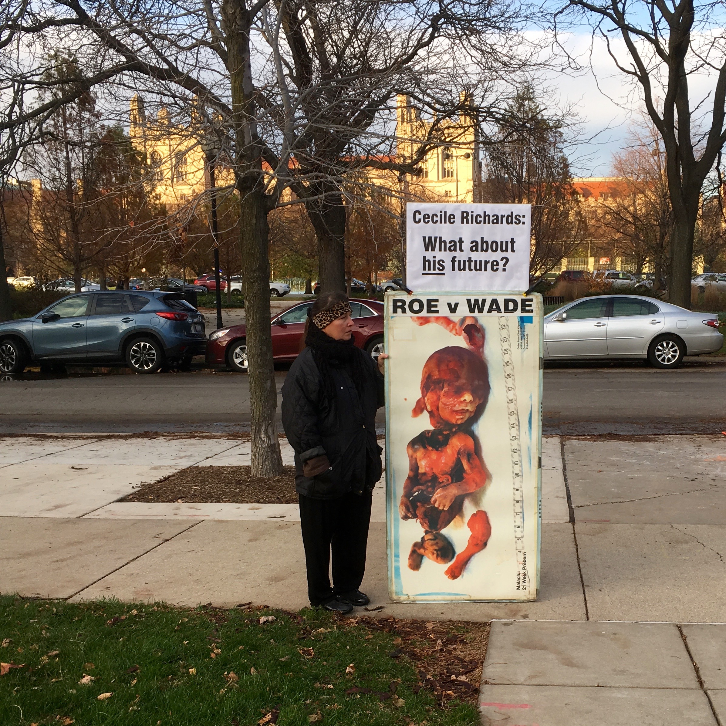 A protester outside the law school