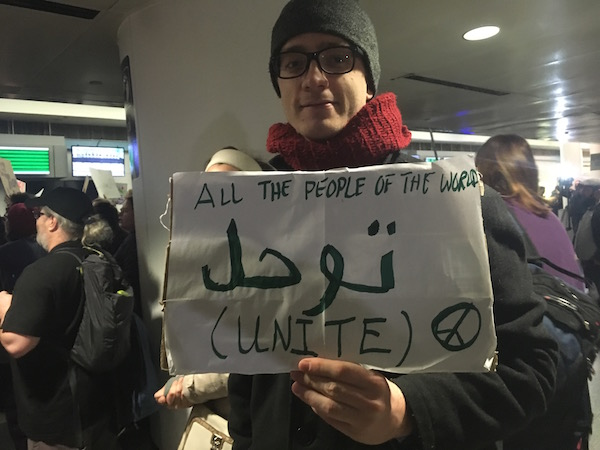 A protester at O'Hare