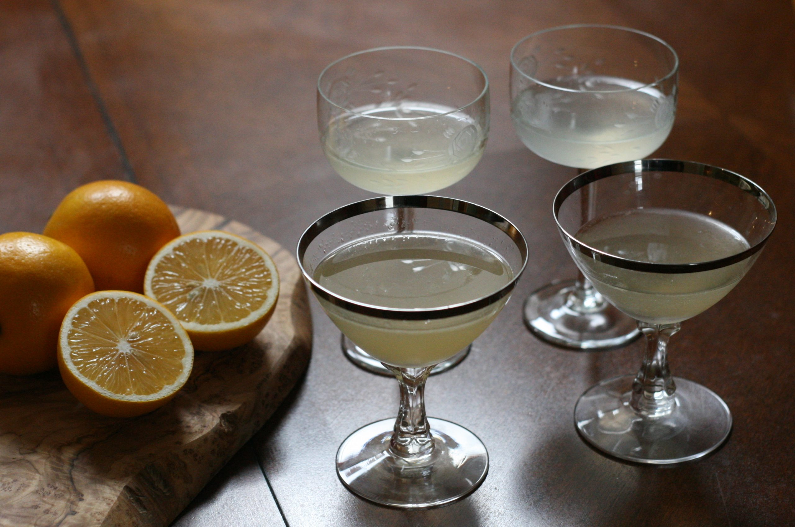The pisco sours (front) and gin sours