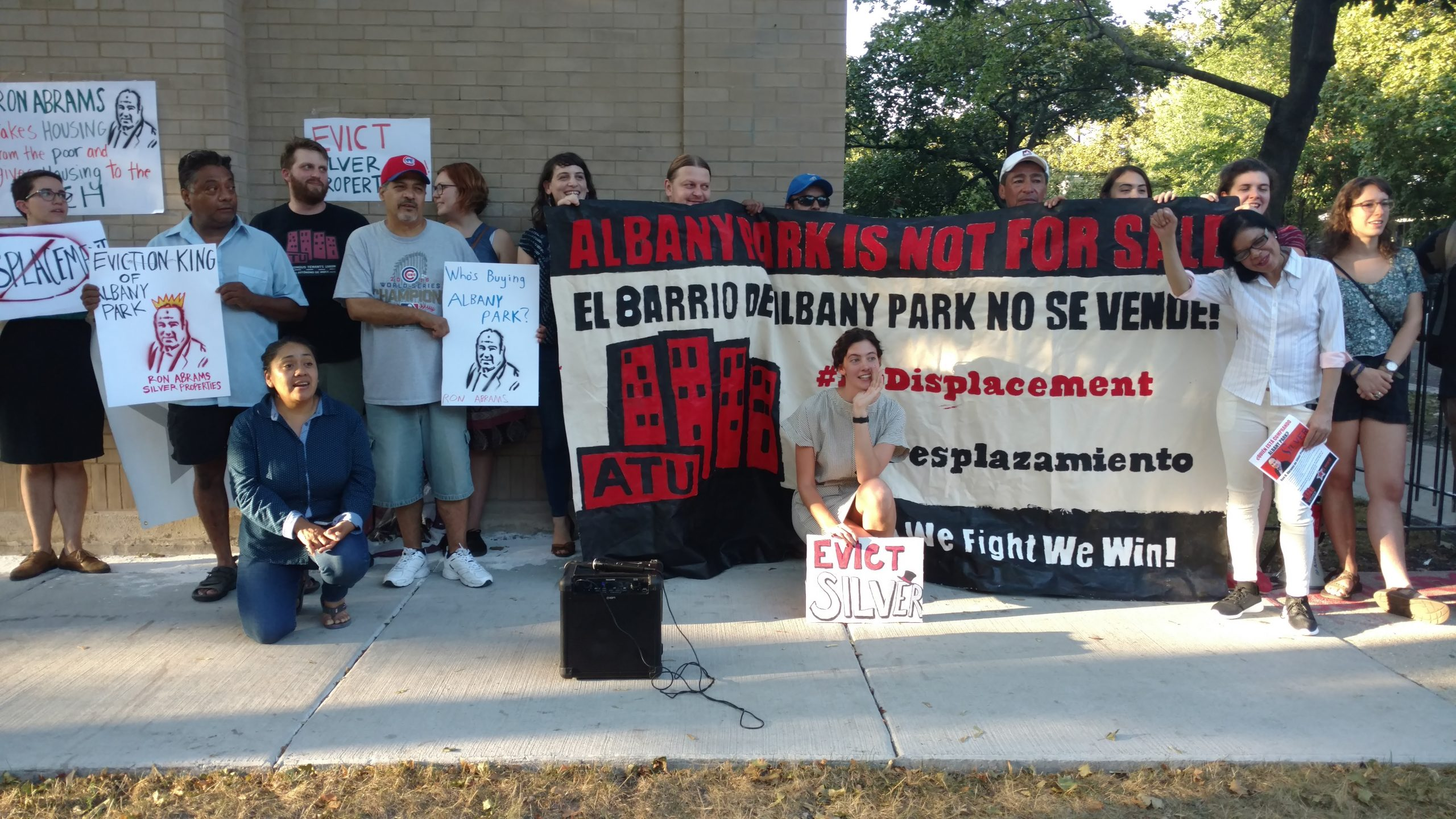 Tenants in Albany Park protested displacement by developer Ron Abrams on September 21, 2017