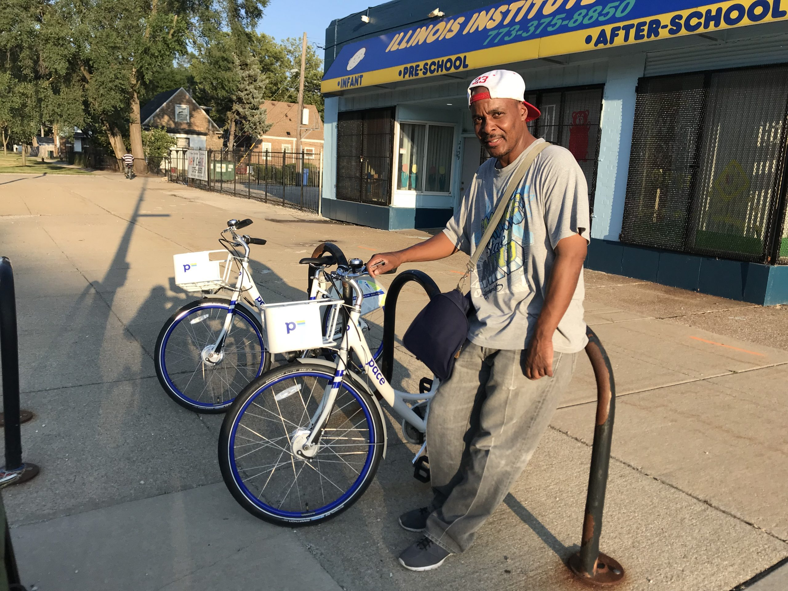 Nathaniel Terrell with Pace bikes in Trumbull Park